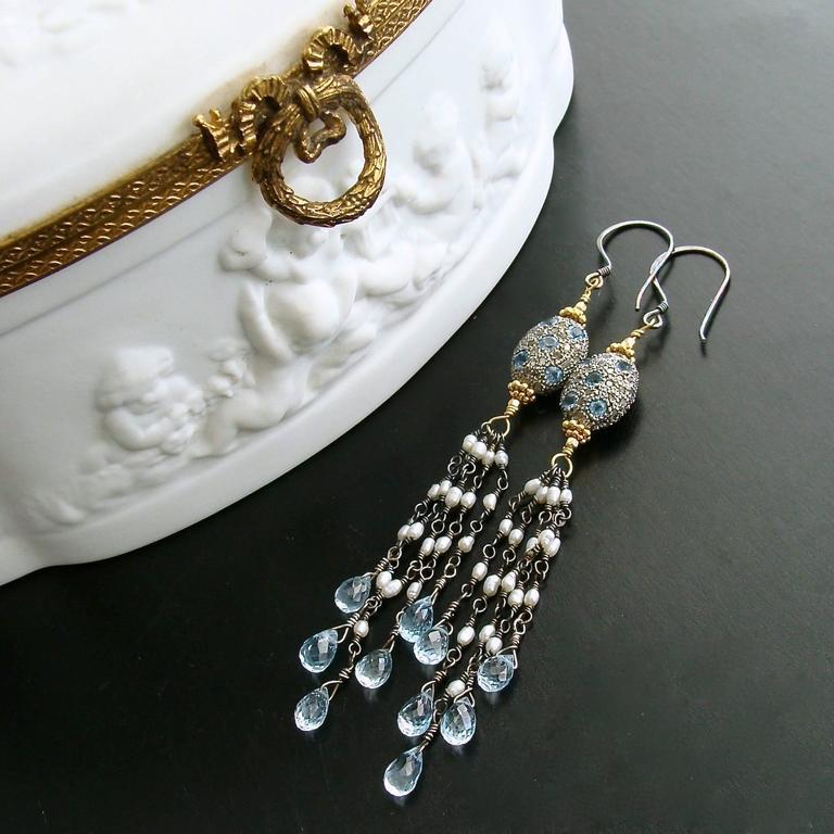 Artisan Diamond Pearls Blue Topaz Duster Tassel Earrings For Sale