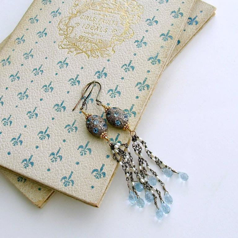 Diamond Pearls Blue Topaz Duster Tassel Earrings In As New Condition For Sale In Scottsdale, AZ