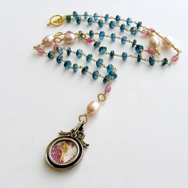 London Blue Topaz Pink Sapphire Lover's Eye Necklace 3