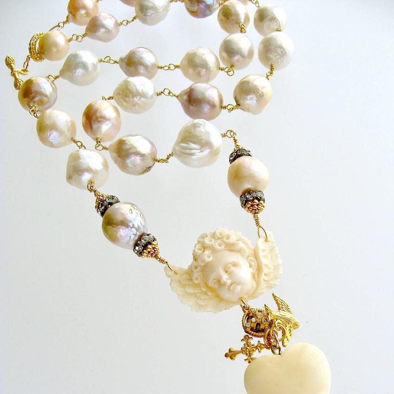 Multi Color Baroque Pearls EcoIvory Cherub Necklace 2