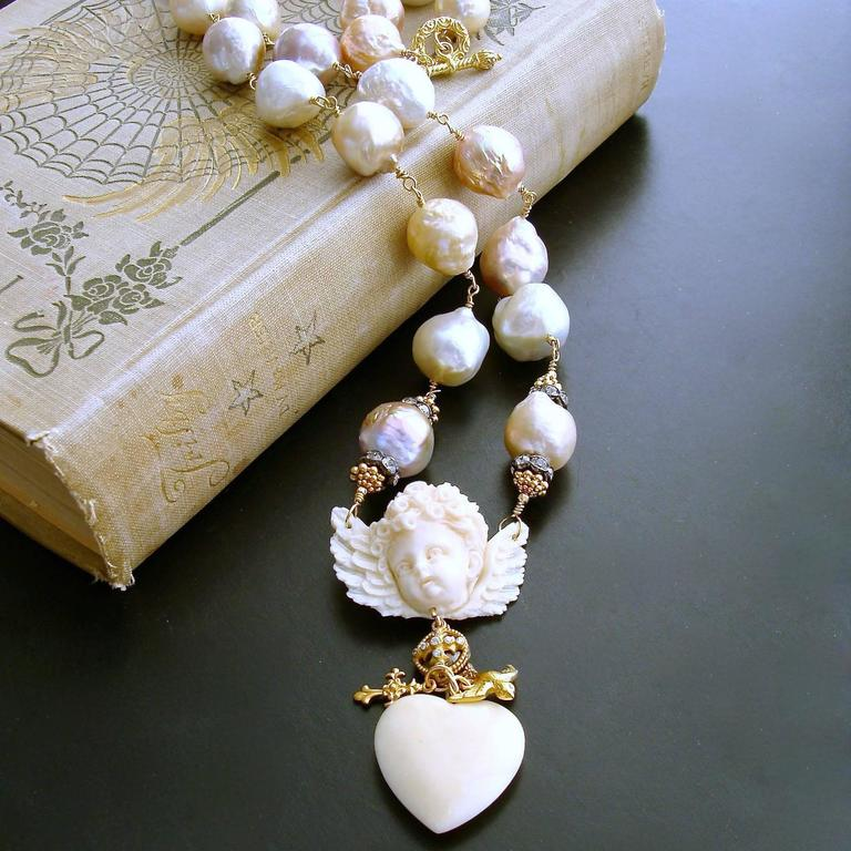 Multi Color Baroque Pearls EcoIvory Cherub Necklace 3