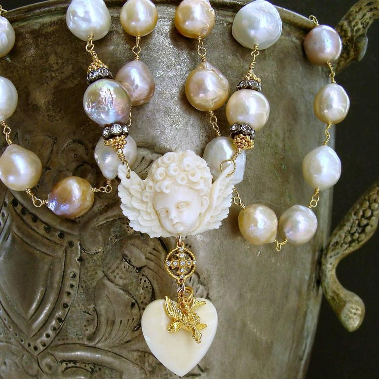 Multi Color Baroque Pearls EcoIvory Cherub Necklace 5