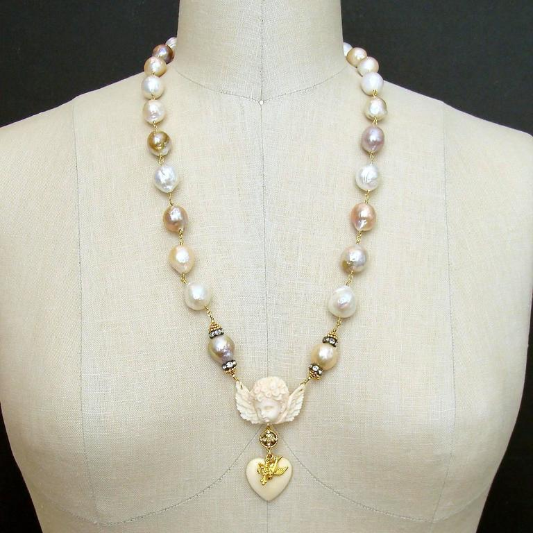 Multi Color Baroque Pearls EcoIvory Cherub Necklace 6