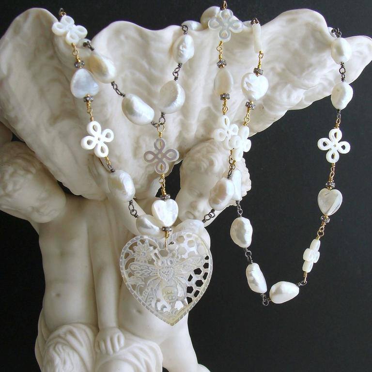 baroque freshwater pearls carved mother