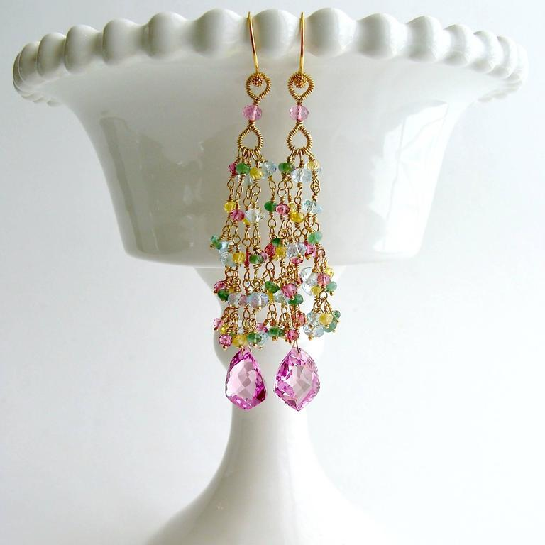 Pink Topaz Emerald Blue Topaz Yellow Zircon Tassel Earrings 2