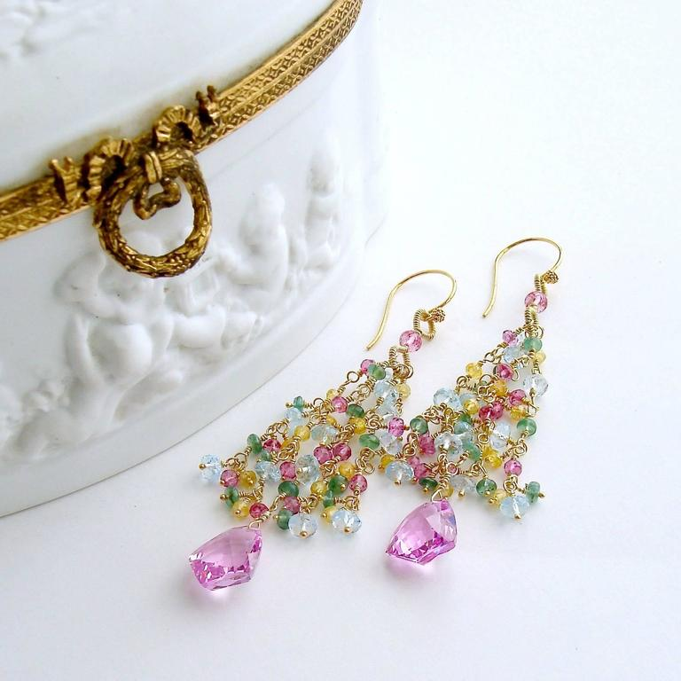 Pink Topaz Emerald Blue Topaz Yellow Zircon Tassel Earrings 3