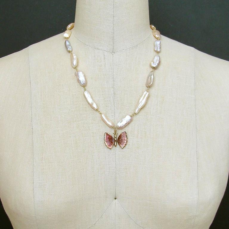 Pink Biwa Pearls Pink Tourmaline Gold Butterfly Necklace In New Condition For Sale In Scottsdale, AZ