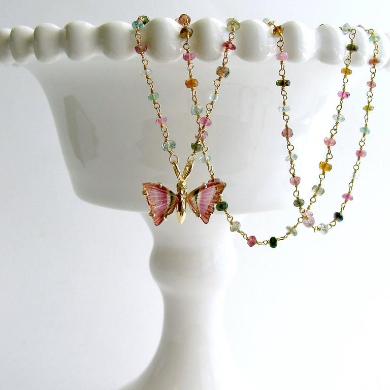 Pink Green Watermelon Tourmaline Gold Butterfly Necklace 2