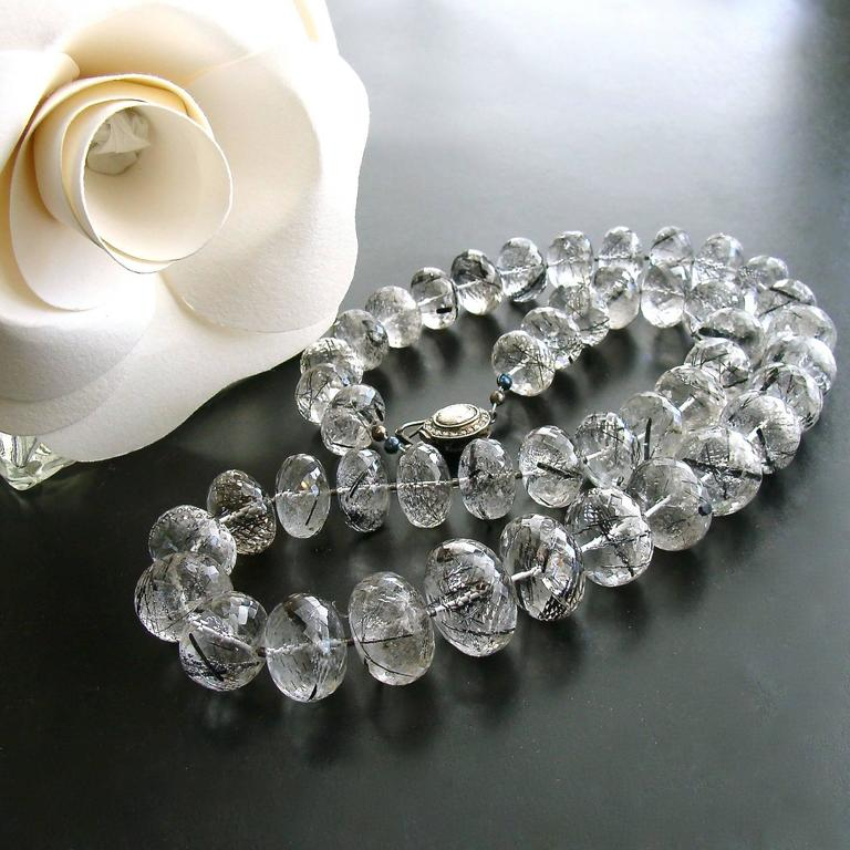 Tourmilated Quartz Polki Diamond Clasp Matinee Necklace In New Condition For Sale In Scottsdale, AZ