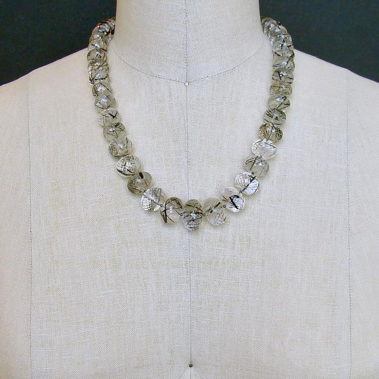 Tourmilated Quartz Polki Diamond Clasp Matinee Necklace For Sale 1