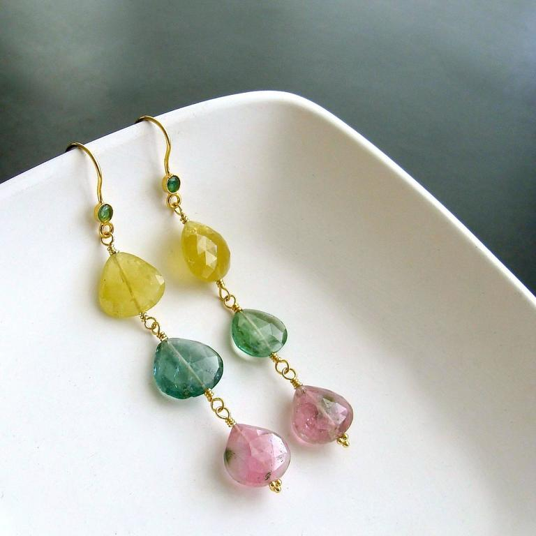 Emerald Pastel Afghan Tourmaline Gold Cascading Hearts Earrings 2