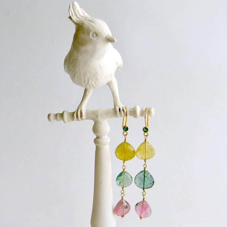 Emerald Pastel Afghan Tourmaline Gold Cascading Hearts Earrings 3