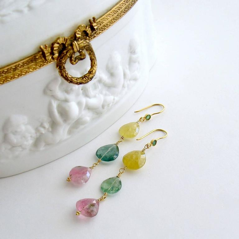Emerald Pastel Afghan Tourmaline Gold Cascading Hearts Earrings 4