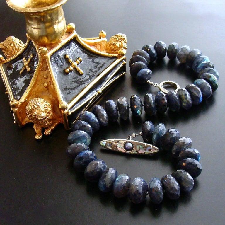 Faceted Blue Flash Labradorite Statement Necklace 2