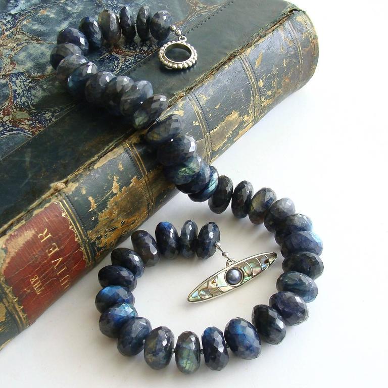 Artisan Faceted Blue Flash Labradorite Statement Necklace For Sale