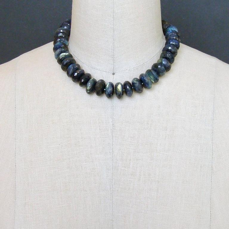 Women's Faceted Blue Flash Labradorite Statement Necklace For Sale