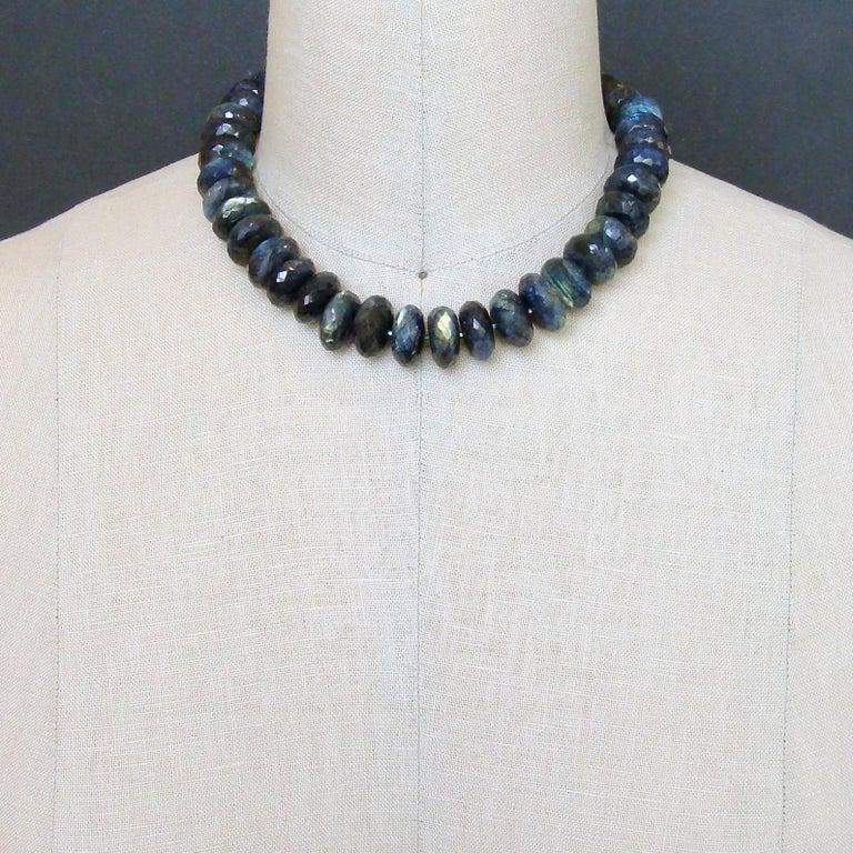 Faceted Blue Flash Labradorite Statement Necklace 5