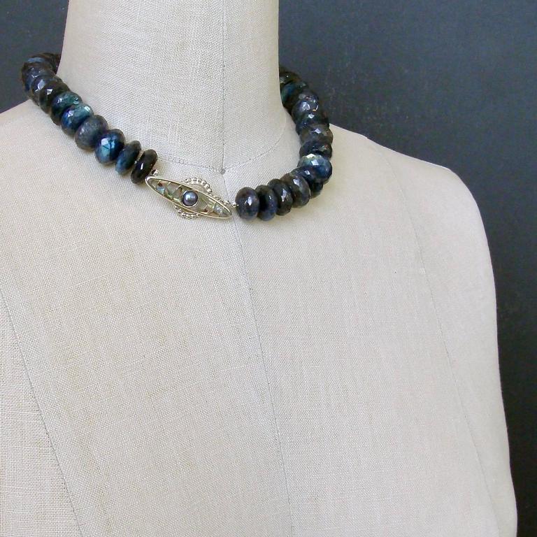 Faceted Blue Flash Labradorite Statement Necklace For Sale 1