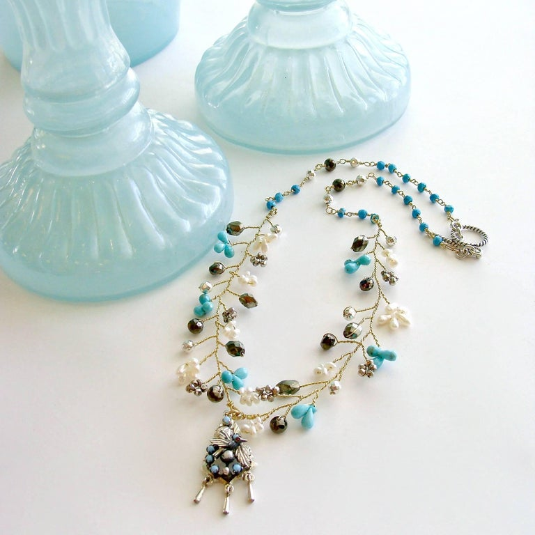 Victorian Turquoise Pyrite Pearls Pajaritos Pendant Necklace For Sale