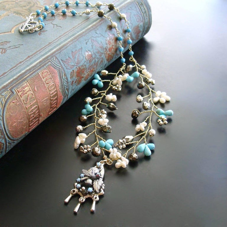 Turquoise Pyrite Pearls Pajaritos Pendant Necklace In As New Condition For Sale In Scottsdale, AZ