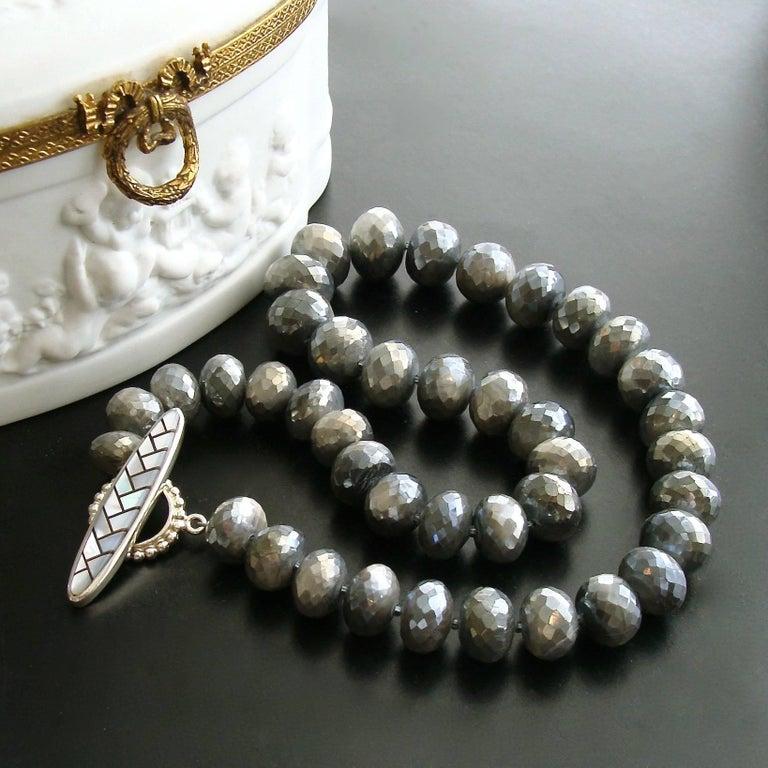 Artisan Mystic Grey Moonstone Graduated Choker Necklace For Sale