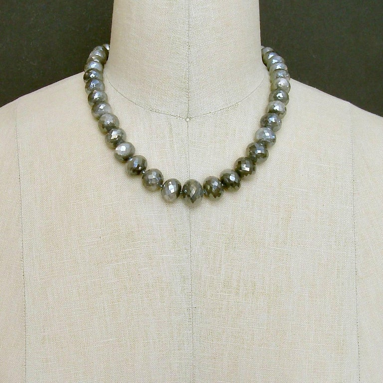 Mystic Grey Moonstone Graduated Choker Necklace In New Condition For Sale In Scottsdale, AZ