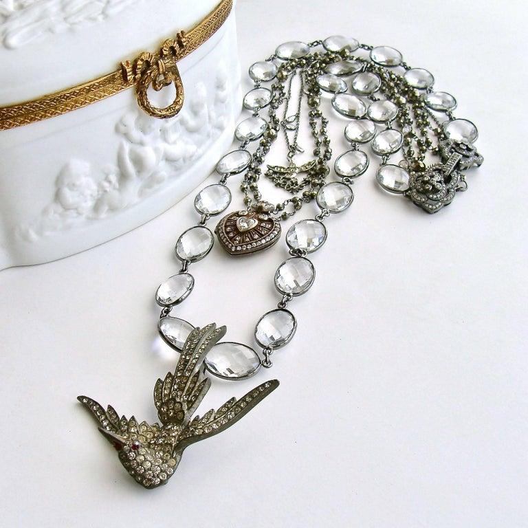 Victorian Silver Paste Heart Vinaigrette Layering Necklace Pyrite For Sale
