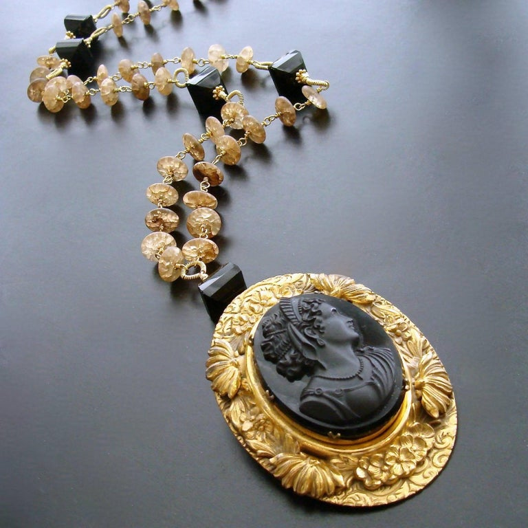 Amber Quartz Onyx Necklace Victorian Onyx Cameo Brooch Pendant In As New Condition For Sale In Scottsdale, AZ