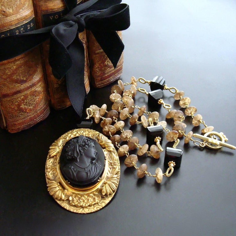 Women's Amber Quartz Onyx Necklace Victorian Onyx Cameo Brooch Pendant For Sale
