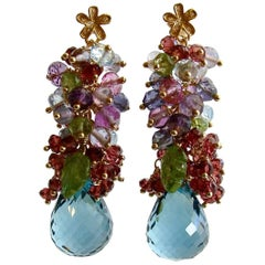 Rhodonite Garnet Blue Topaz Pink Topaz Amethyst Peridot Iolite Cluster Earrings