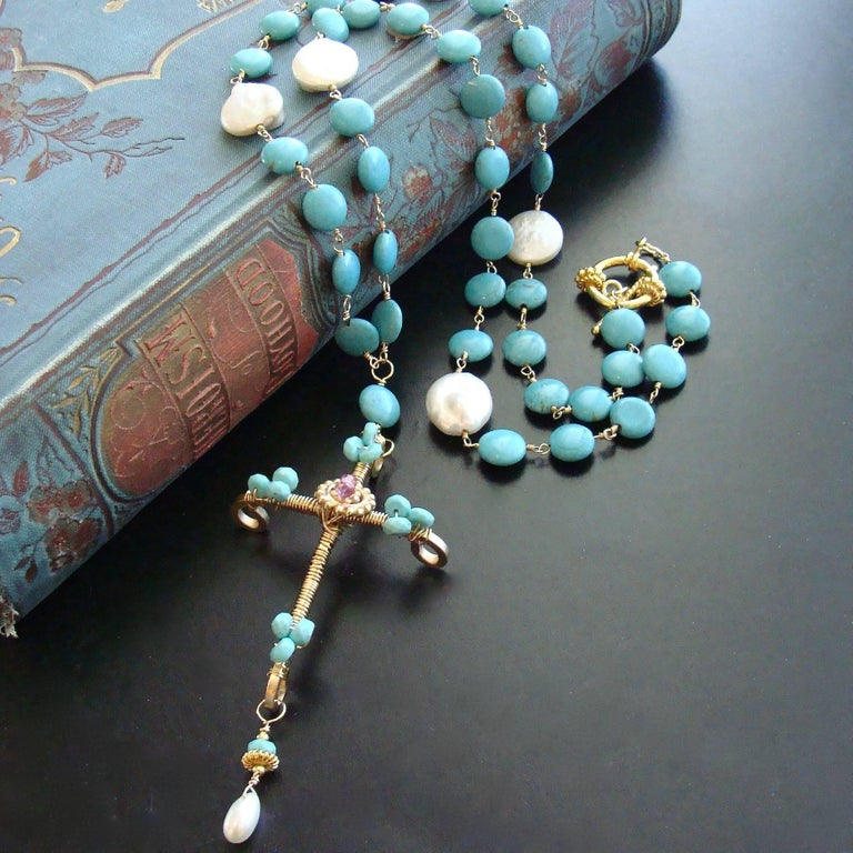 Byzantine Sleeping Beauty Turquoise Pink Topaz Cross Necklace For Sale
