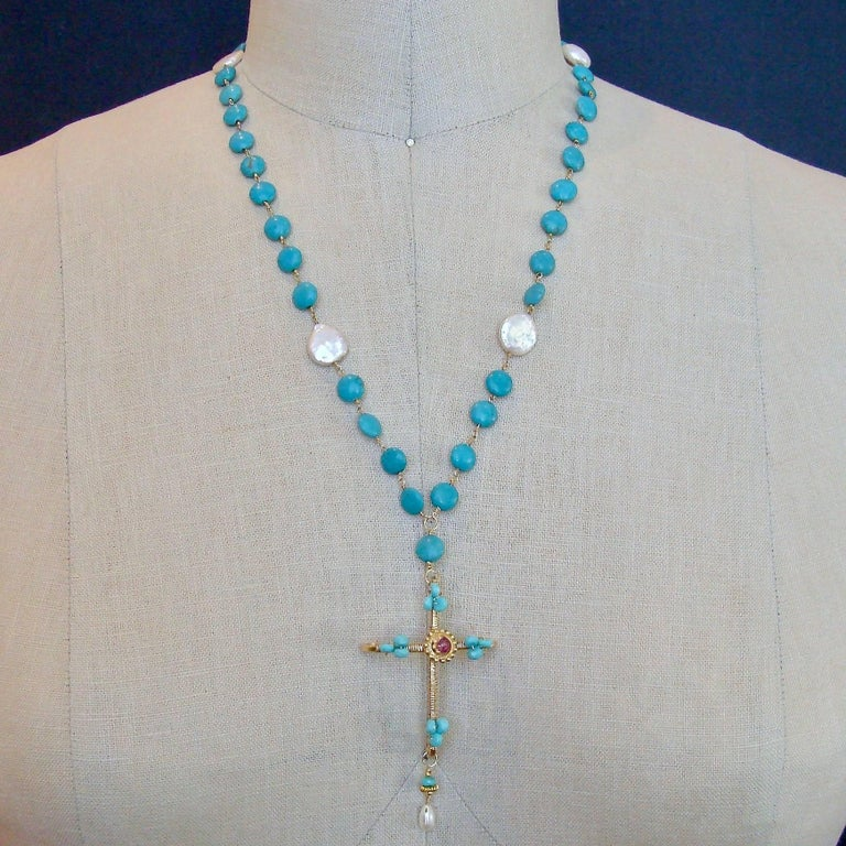 Sleeping Beauty Turquoise Pink Topaz Cross Necklace In As New Condition For Sale In Scottsdale, AZ