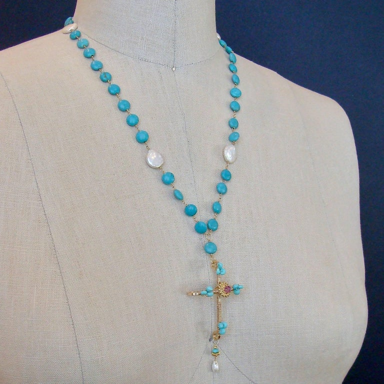 Women's Sleeping Beauty Turquoise Pink Topaz Cross Necklace For Sale