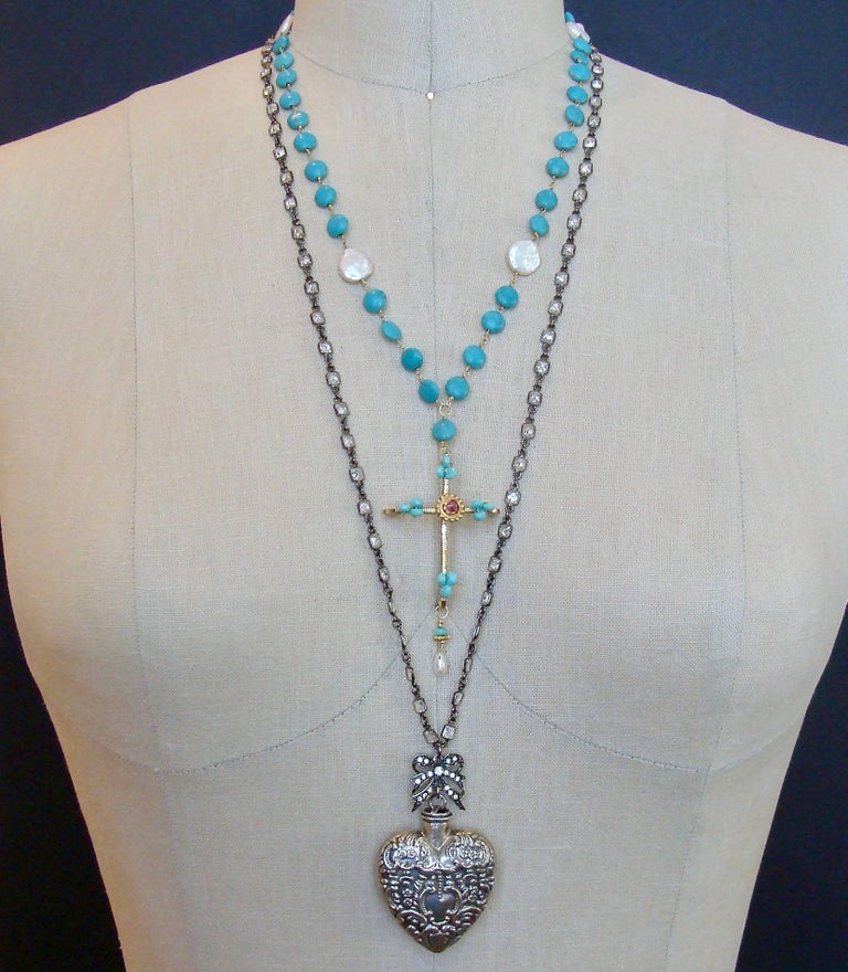 Sleeping Beauty Turquoise Pink Topaz Cross Necklace For Sale 1
