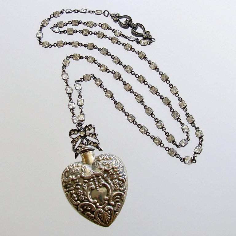 Victorian Sterling Silver Repousse Chatelaine Heart Scent Bottle Necklace For Sale
