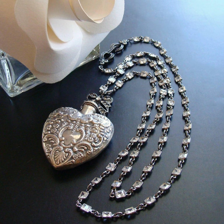 Sterling Silver Repousse Chatelaine Heart Scent Bottle Necklace In As new Condition For Sale In Scottsdale, AZ