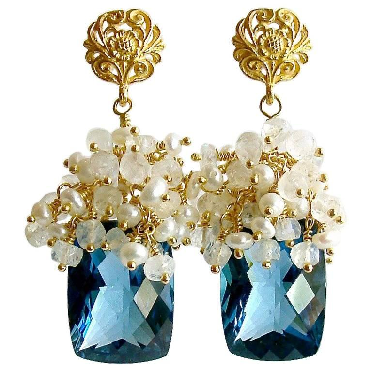 London Blue Topaz Seed Pearls Moonstone Cluster Earrings For Sale