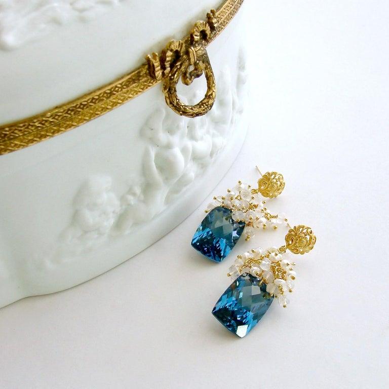 Baguette Cut London Blue Topaz Seed Pearls Moonstone Cluster Earrings For Sale