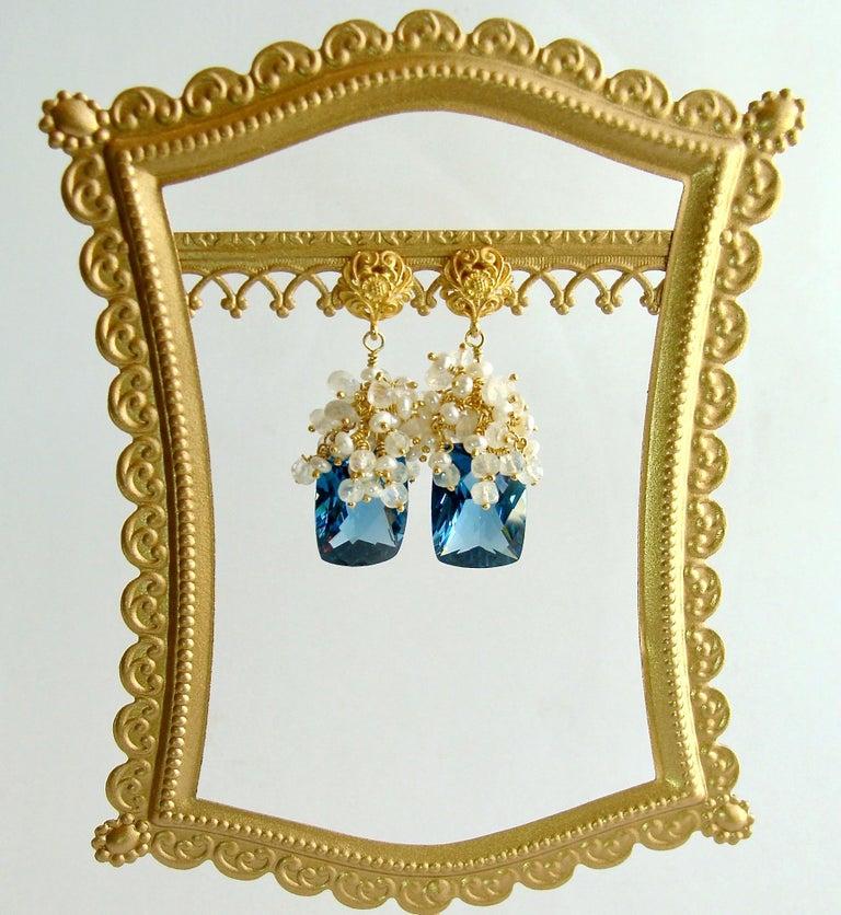 Women's London Blue Topaz Seed Pearls Moonstone Cluster Earrings For Sale