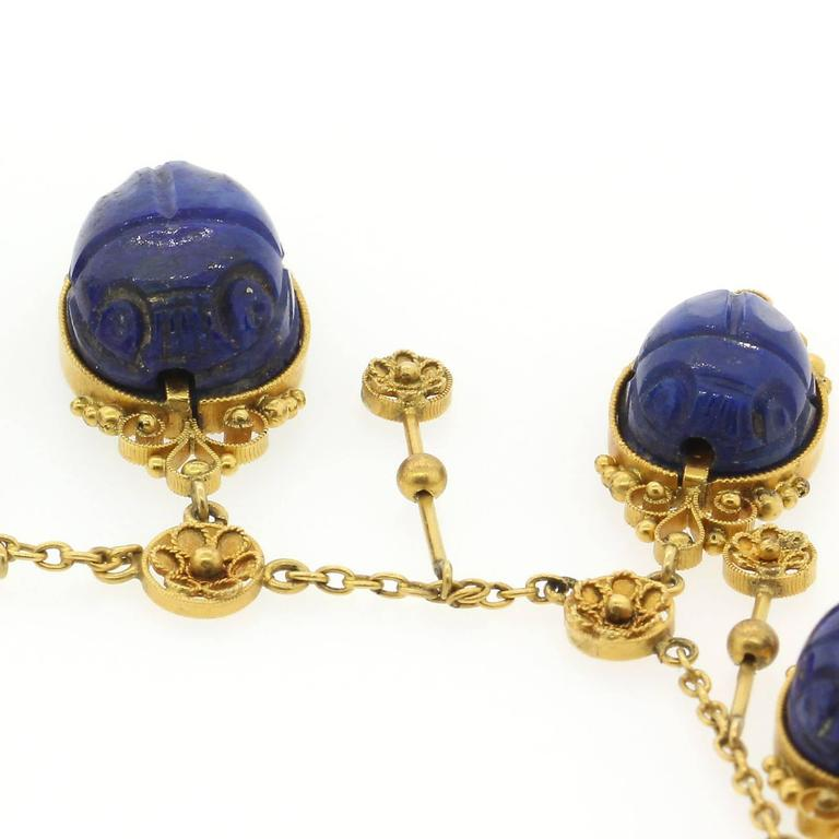 Egyptian Revival Lapis Lazuli Gold Scarab Necklace At 1stdibs