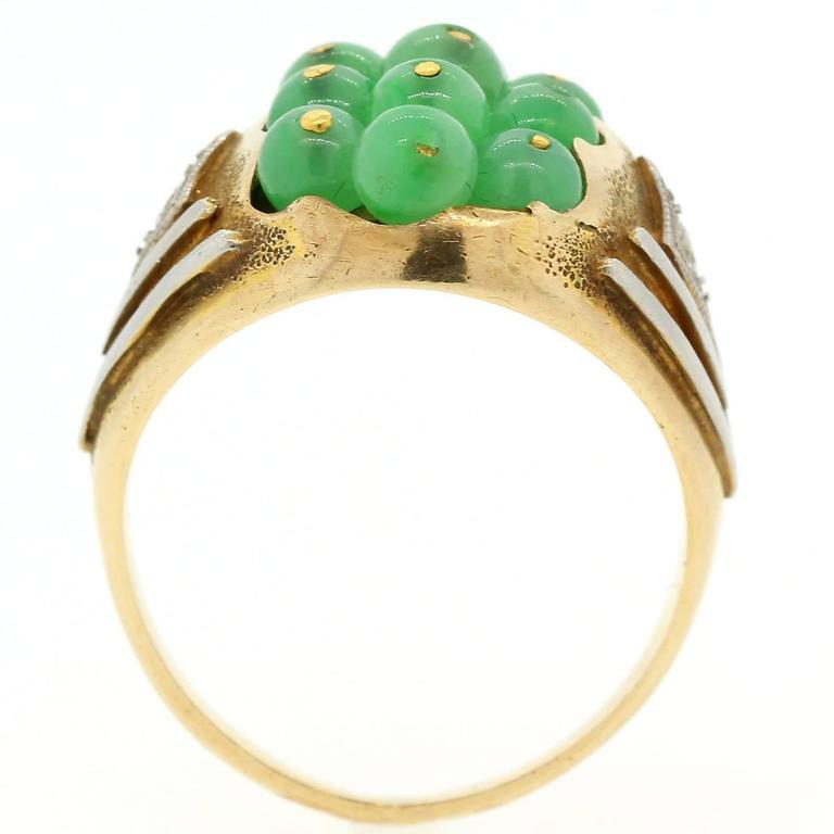 Old European Cut 1960s  Jade Diamond Gold Platinum Ring For Sale