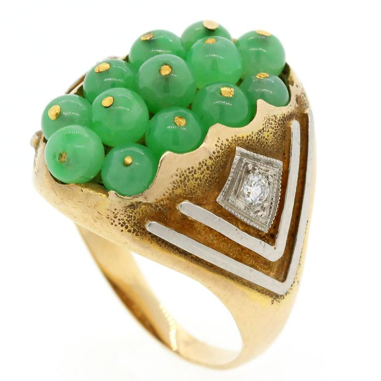 1960s  Jade Diamond Gold Platinum Ring In Good Condition For Sale In Beverly Hills, CA