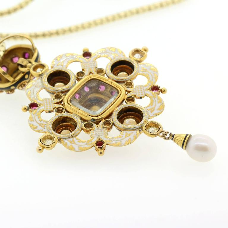 1890s Natural Pearls Old Cut Diamonds Ruby Gold Pendant Locket 4