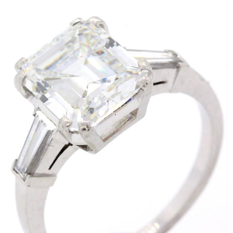 3 21 Carat GIA Cert Emerald Cut Diamond Platinum Engagement Ring at 1stdibs