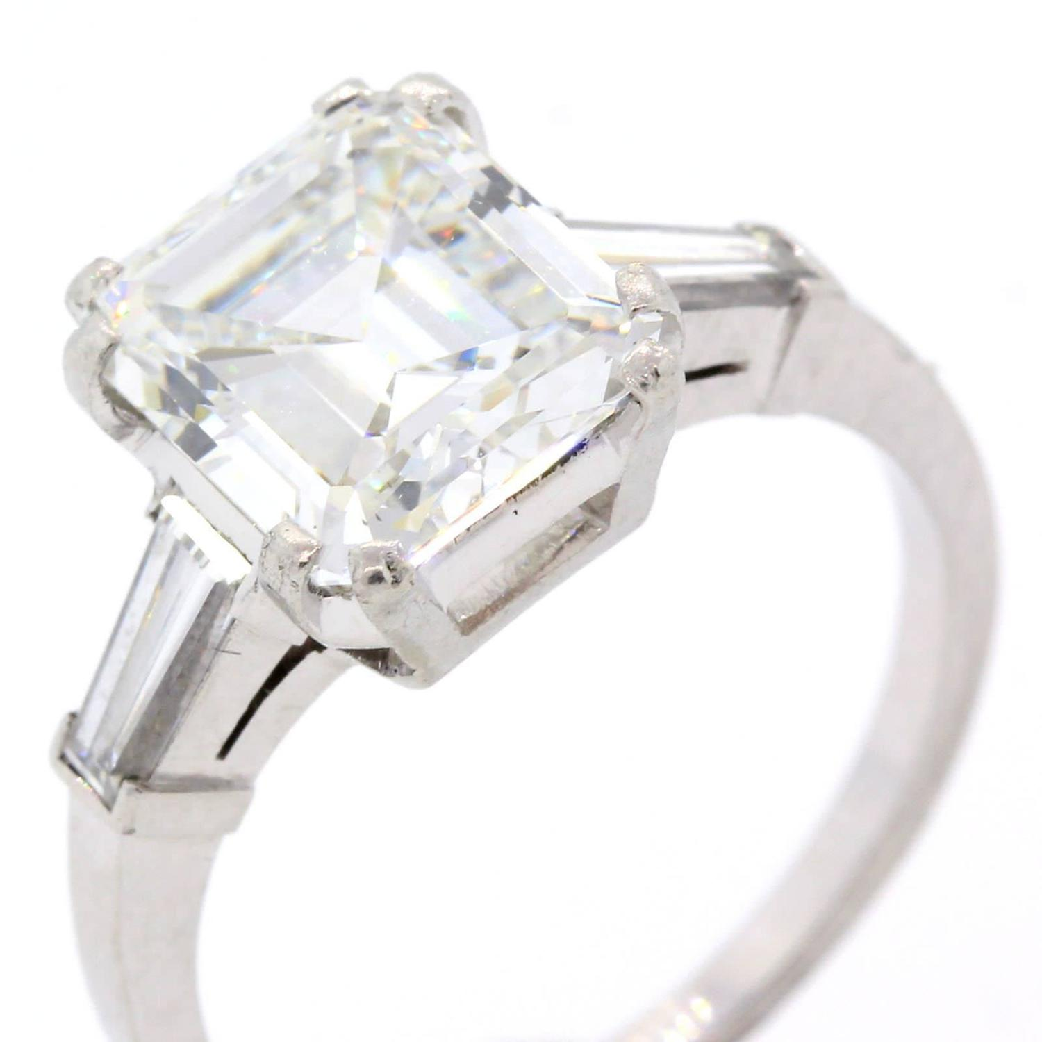 3 21 Carat GIA Cert Emerald Cut Diamond Platinum Engagement Ring at 1stdibs