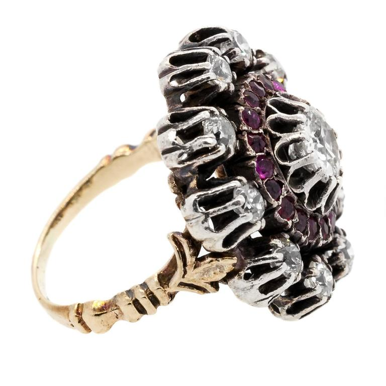 Burma Ruby Old Diamond Silver Gold Ring 2