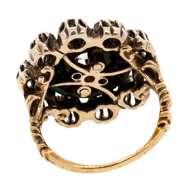 Georgian Burma Ruby Old Diamond Silver Gold Ring For Sale