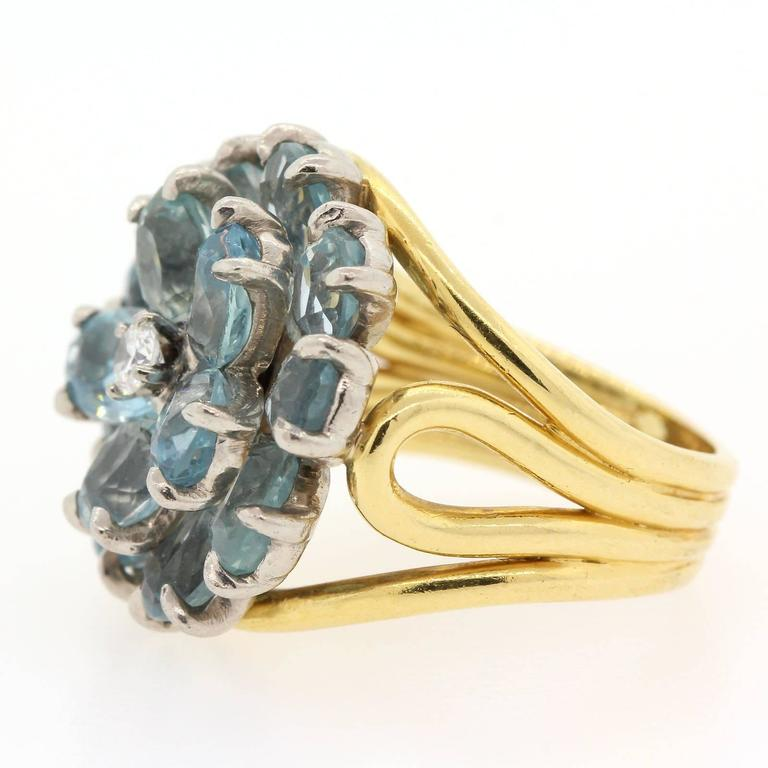 1960s Tiffany & Co. Aquamarine Diamond Gold Ring  2