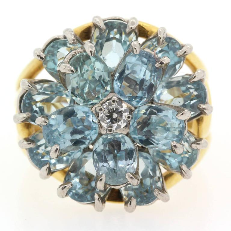 1960s Tiffany & Co. Aquamarine Diamond Gold Ring  3