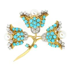 1960s Turquoise Pearl Diamond Gold Brooch